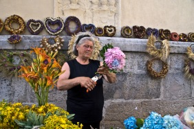 While walking the market in Ljubljana, Slovenia, I came across this lovely old lady selling beautiful flowers. She nodded graciously when I motioned to my camera.