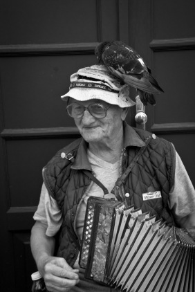 Passed by this street performer on the outskirts of Split in Croatia. After a few offerings in his basket, he was happy to let me take his picture. He played a pretty mean accordion.